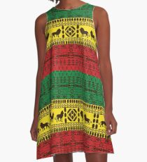 African Traditional Pattern Lions rasta A-Line Dress