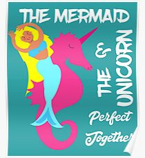 Cute Mermaid Beach Themed Slogan Design Poster