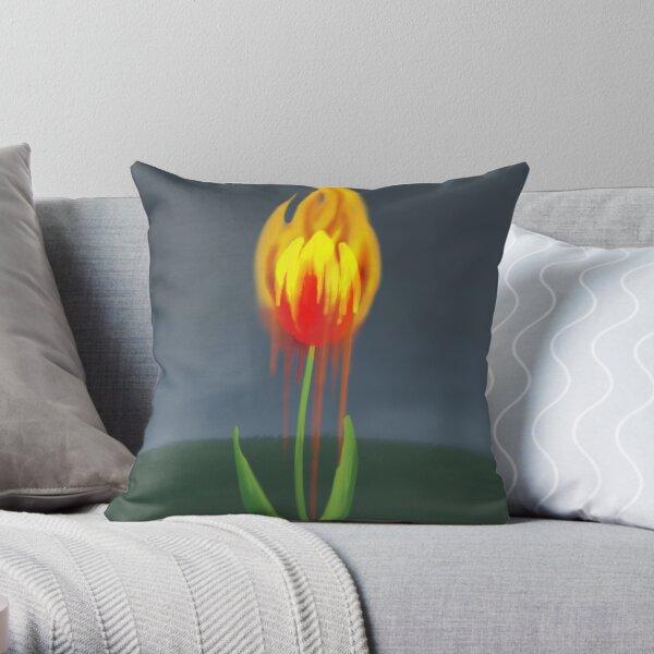 Flame Tulip Throw Pillow