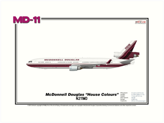 """McDonnell Douglas MD-11 - McDonnell Douglas Corporation """"House Colours"""" (Art Print) by TheArtofFlying"""