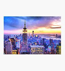 NYC Sunset watercolor painting new york city big apple brooklyn manhattan sunrise empire state building Photographic Print
