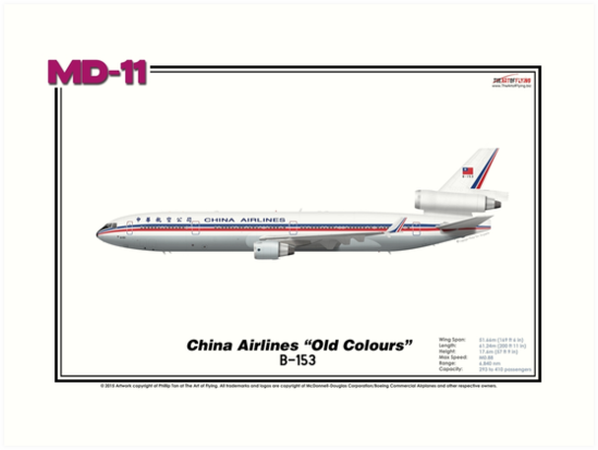 """McDonnell Douglas MD-11 - China Airlines """"Old Colours"""" (Art Print) by TheArtofFlying"""