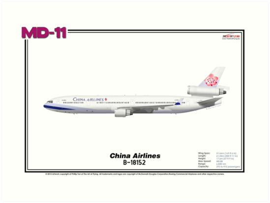 McDonnell Douglas MD-11 - China Airlines (Art Print) by TheArtofFlying