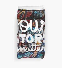 colorful hip hop grunge your story matters graffiti  Duvet Cover