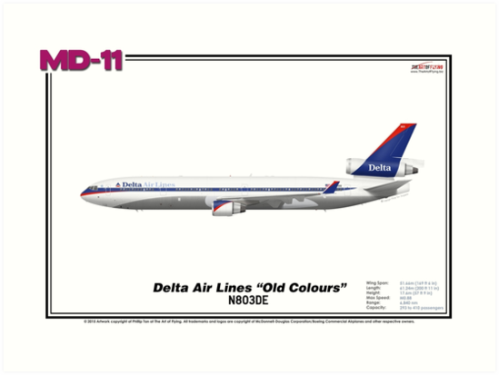 """McDonnell Douglas MD-11 - Delta Air Lines """"Old Colours"""" (Art Print) by TheArtofFlying"""