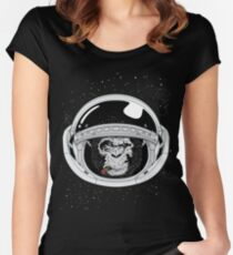 Space Ape Black and White Women's Fitted Scoop T-Shirt