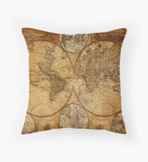 Traveller Gifts travel souvenir vintage world map Throw Pillow