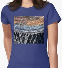 Tree Stump Bark and Rings  Womens Fitted T-Shirt