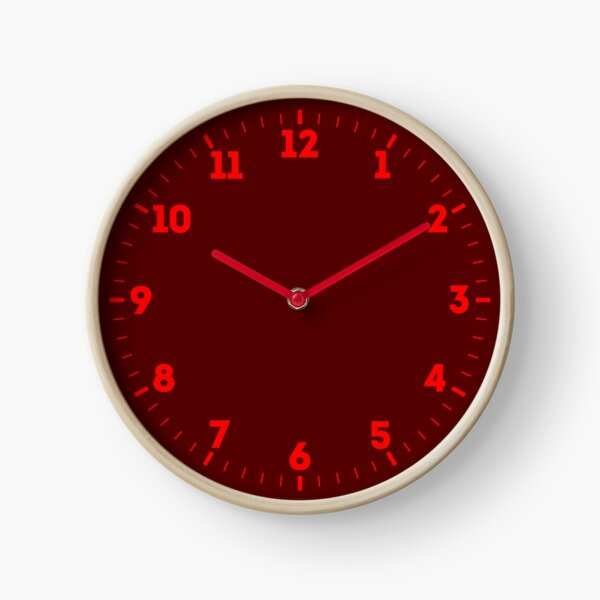 Burgundy Red Solid Color Decor Clock