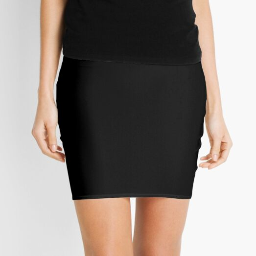 Solid Black Accent Decor Mini Skirt