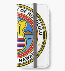Honolulu coat of arms iPhone Wallet/Case/Skin