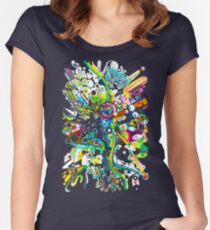 Tubes of Wonder - Abstract Watercolor + Pen Illustration Women's Fitted Scoop T-Shirt