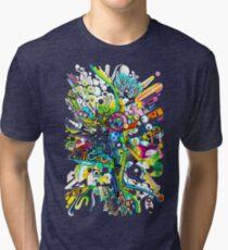 Tubes of Wonder - Abstract Watercolor + Pen Illustration Tri-blend T-Shirt