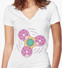 Doughnut Fidget Spinner Women's Fitted V-Neck T-Shirt
