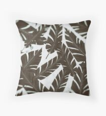 Wet Plate Effect Vintage Tropical Leaf Pattern Throw Pillow