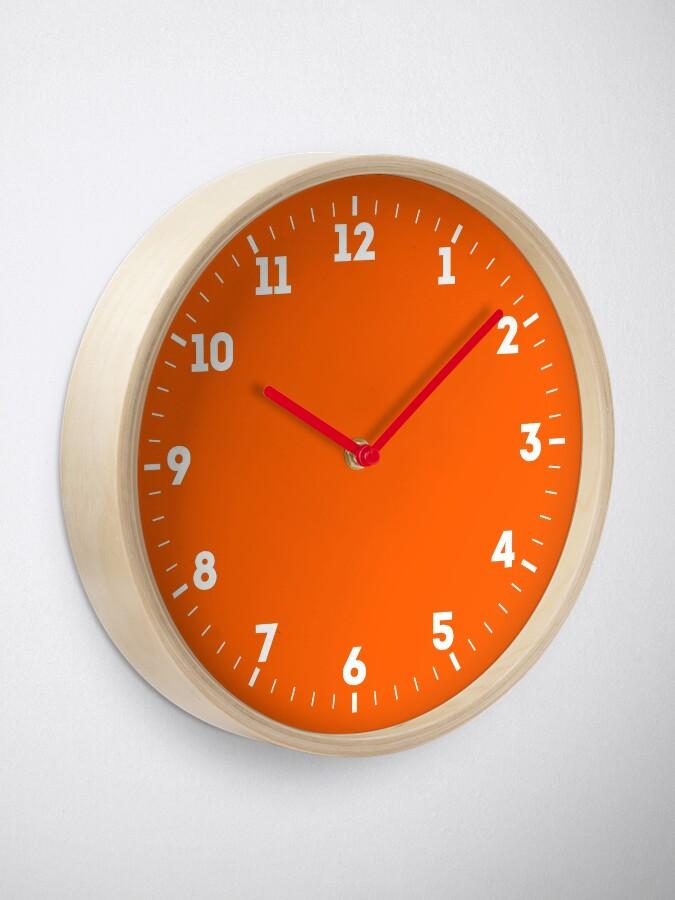 Alternate view of Festive Orange Accent Solid Color Decor Clock