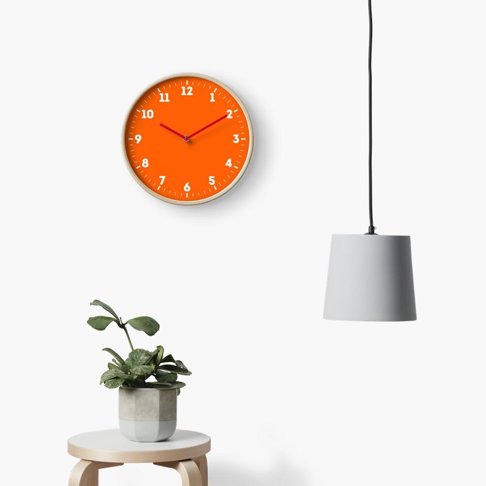 Festive Orange Accent Solid Color Decor Clock