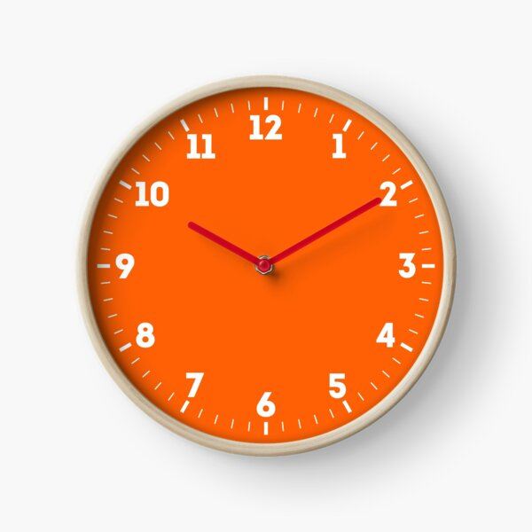 Festive Orange Accent Solid Color Decor Clock