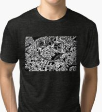 Black and White Galaxy Shape Doodle Scribblings - Ink Pen Tri-blend T-Shirt