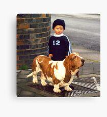 Small Child; Big Dog Canvas Print