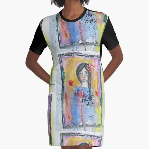 """Brave Heart"" Graphic T-Shirt Dress"