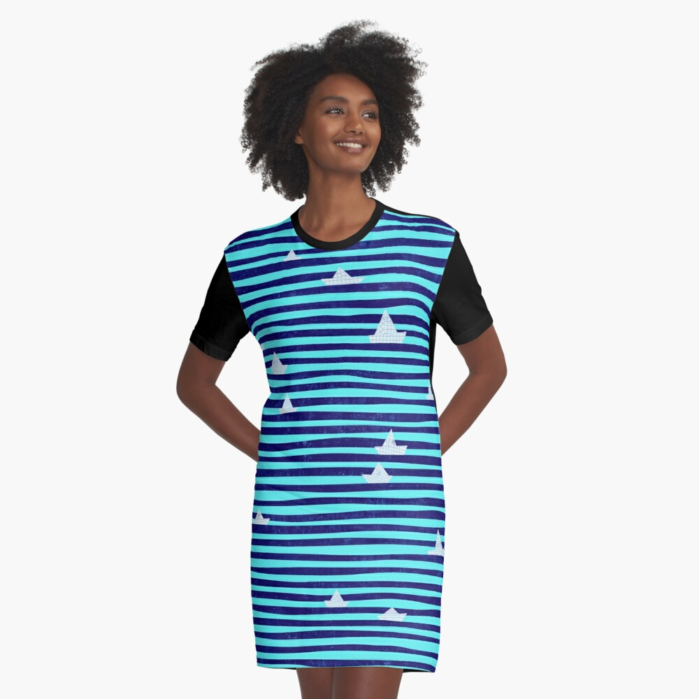 Origami Boat On The Sea Graphic T Shirt Dress By Ursulla Redbubble