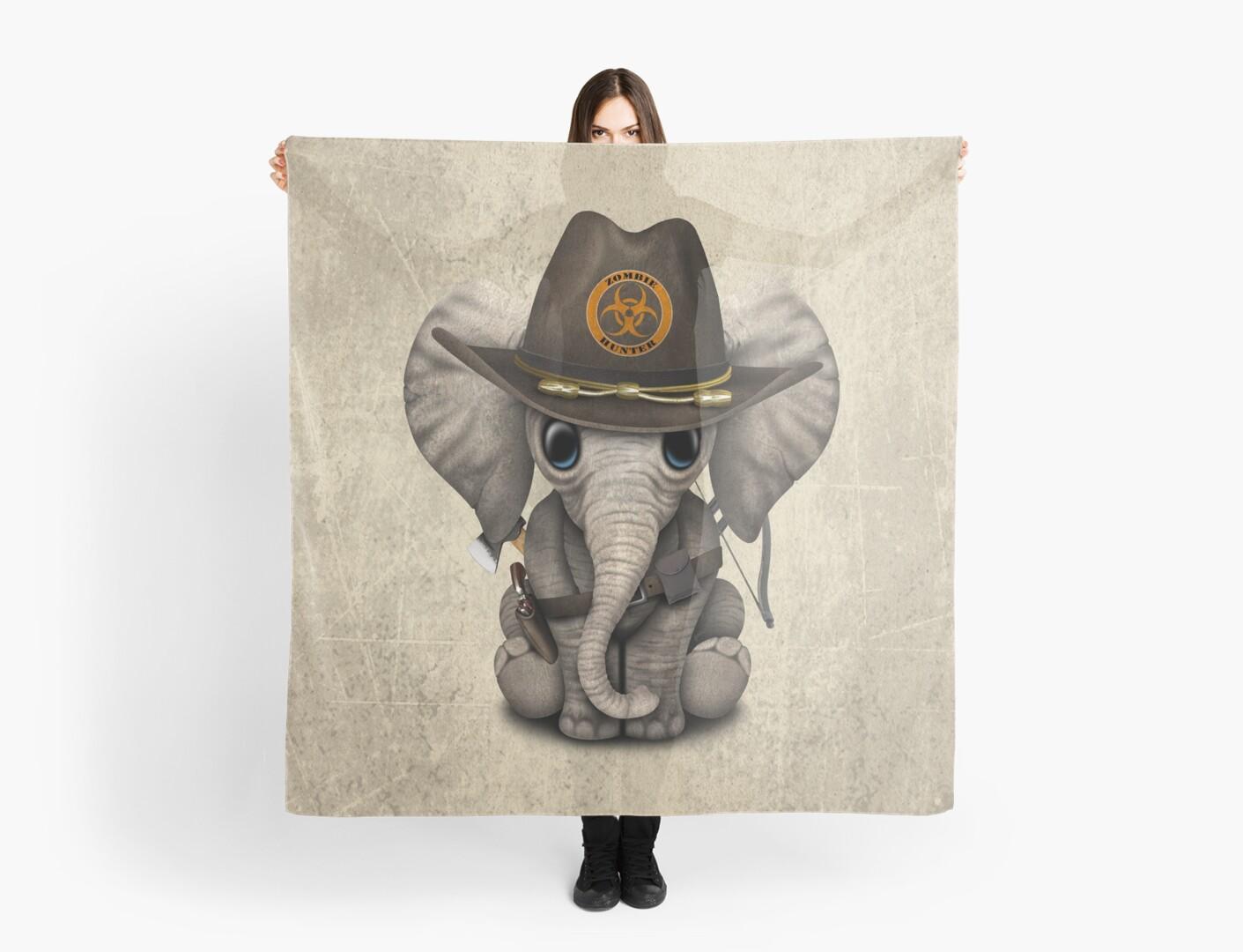 Baby Elephant Zombie Hunter by jeff bartels