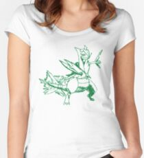 Mega Sceptile Outline - Green Women's Fitted Scoop T-Shirt