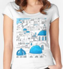 Santorini Blue and White Paradise Women's Fitted Scoop T-Shirt