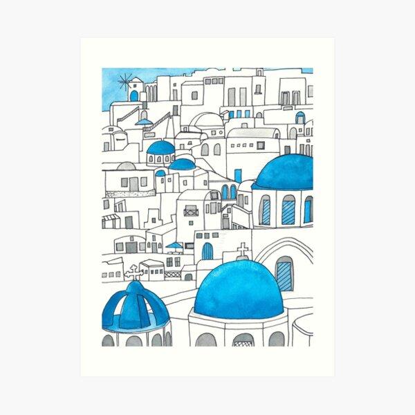 Santorini Blue and White Paradise Art Print
