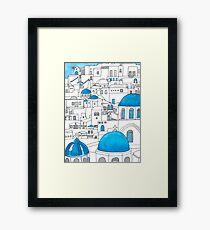 Santorini Blue and White Paradise Framed Print