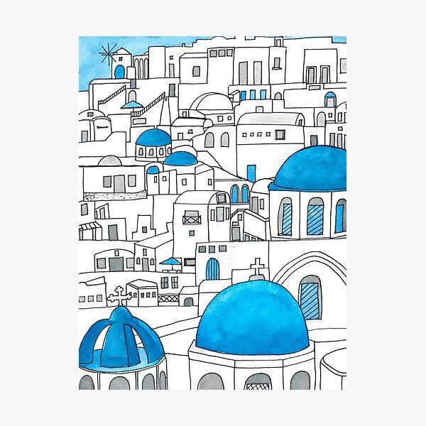 Santorini Blue and White Paradise Photographic Print