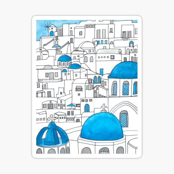 Santorini Blue and White Paradise Sticker
