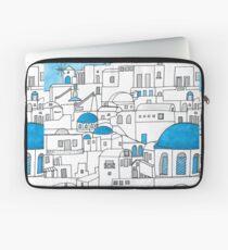 Funda para portátil Santorini, paraíso azul y blanco