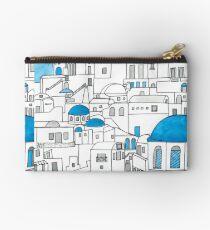 Bolso de mano Santorini, paraíso azul y blanco