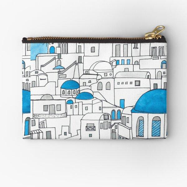 Santorini Blue and White Paradise Zipper Pouch