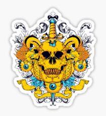 Yellow Skull & Dagger Sticker