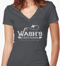 Wash's Flight School Women's Fitted V-Neck T-Shirt