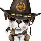 Netter Bulldoggen-Welpen-Zombie-Jäger von jeff bartels