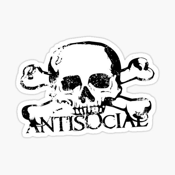 Antisocial Skull Sticker