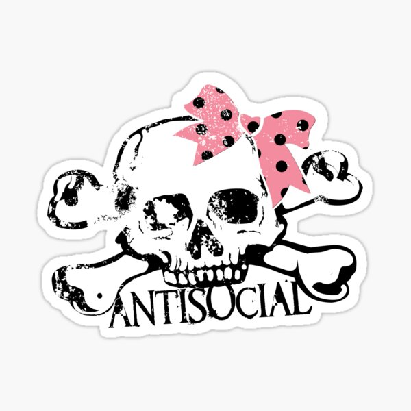 Antisocial Girly Skull Sticker
