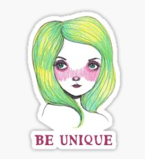 Be Unique: Pretty Green Haired Girl  Sticker