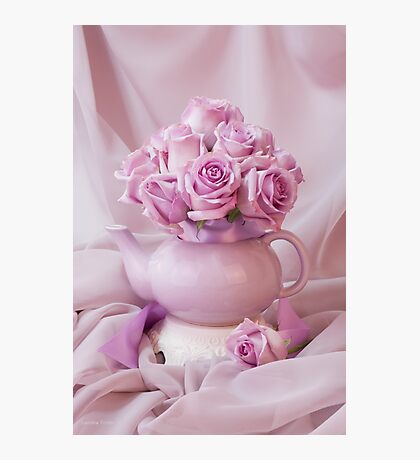 A Tea Pot Of Lavender Pink Roses  Photographic Print