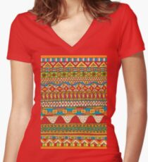 African Pattern Women's Fitted V-Neck T-Shirt