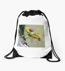 Hoverfly on a Passionflower Drawstring Bag