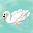 Mother Swan and her Cygnet by Vetmari