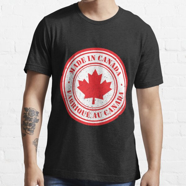 Made In/Fabriqué Au Canada - With Background on Black Essential T-Shirt