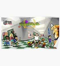 Hallway Scuffle with Logo Poster