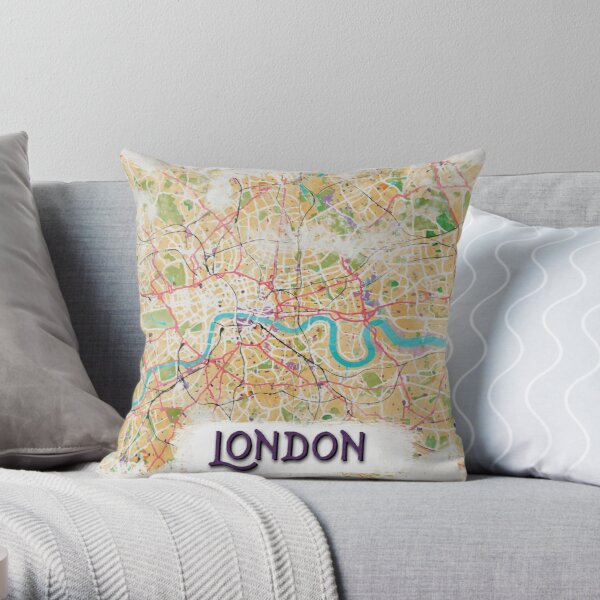 Watercolor Map of London Throw Pillow
