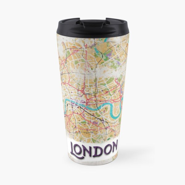 Watercolor Map of London Travel Mug